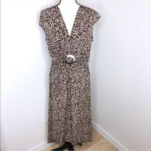 Bisou Bisou Brown Pattern Shell Drapey Dress Sz L